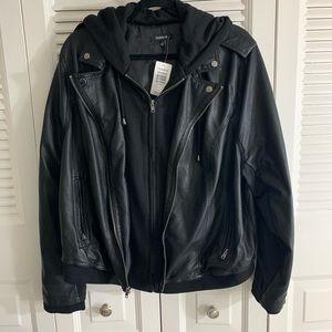 🔥 NWT torrid hooded leather jacket